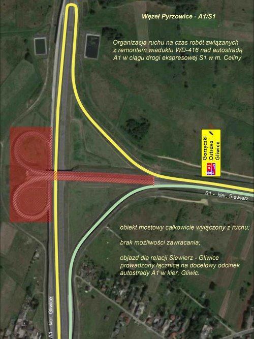 Zmiana organizacji ruchu na węźle Pyrzowice - autostrada A1 i droga ekspresowa S1
