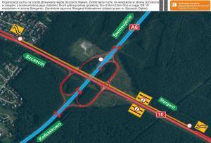 Autostrada A6: Węzeł Szczecin Kijewo w budowie - wiadukt w stronę Szczecina zamknięty