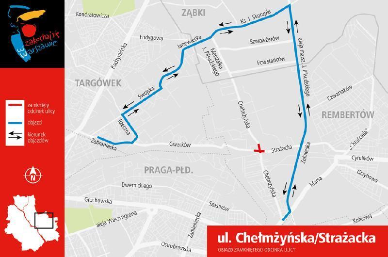 Utrudneinia w ruchu drogowym w Warszawie