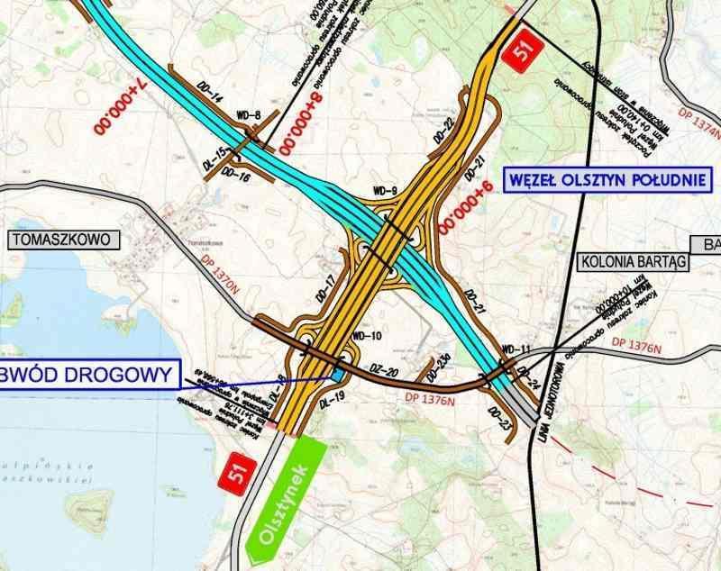Mapa węzła Olsztyn Południe na skrzyżowaniu DK16 i S51