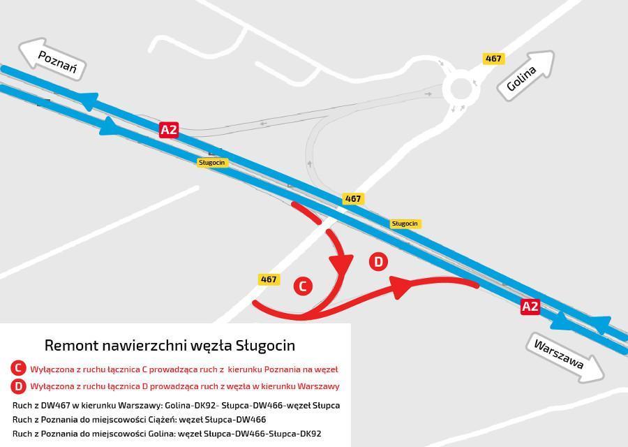 Utrudnienia na węźle Sługocin w ciągu autostrady A2 Września - Konin