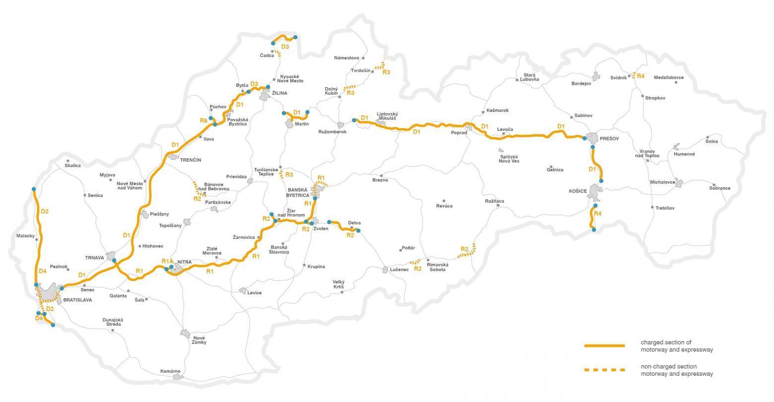 Slowacja Mapa Samochodowa