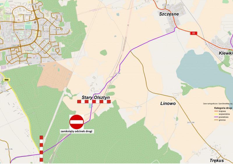 Zamknięcie drogi w związku z budową obwodnicy Olsztyna w ciągu S51