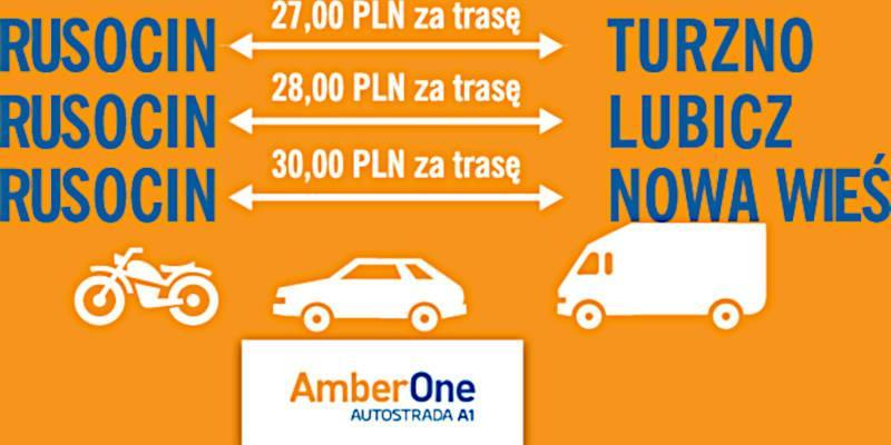Zaokrąglone opłaty na odcinkach autostrady A1 Gdańsk - Toruń obowiązują w okresie wakacyjnym. Źródło: GTC