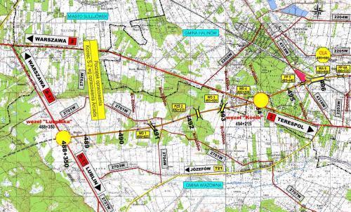 Mapa autostrady A2 Warszawa - Kukuryki