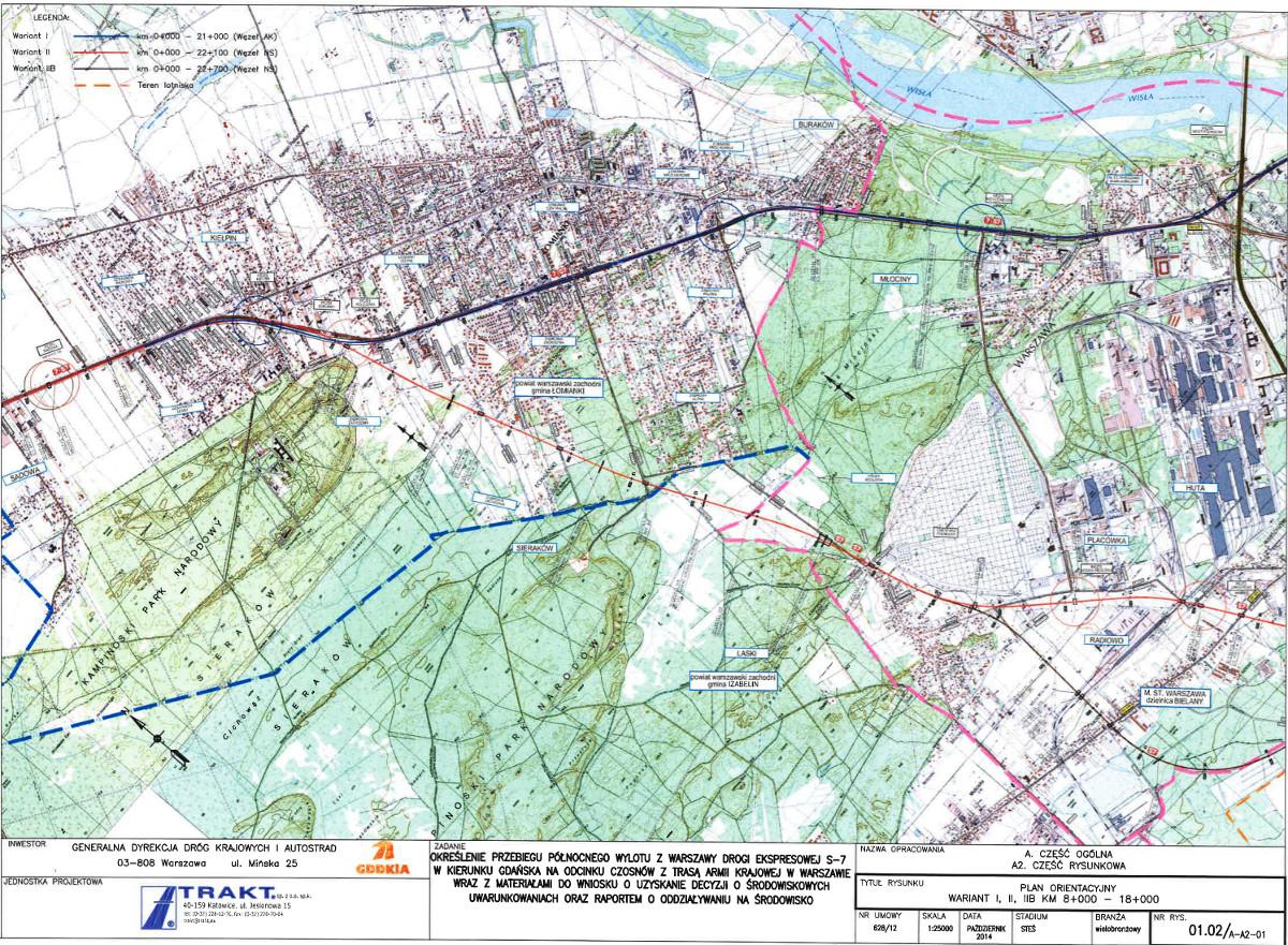 Mapa przebiegu drogi ekspresowej S7 Warszawa - Kiełpin