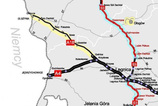Powstanie autostrada A18! Ruszył przetarg na przebudowę schodów Olszyna - Golnice