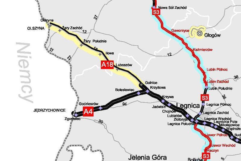 Mapa z odcinkiem autostrady A18 Olszyna - Krzyżowa przewidzianym do przebudowy