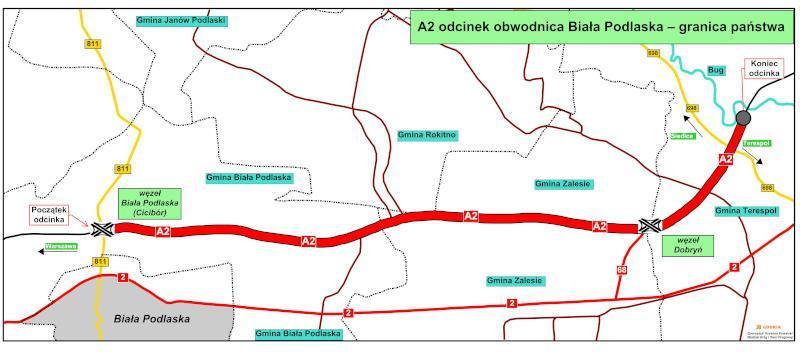 Mapa przebiegu autostrady A2 Biała Podlaska - Terespol (granica państwa)