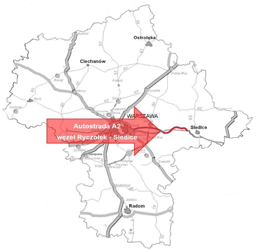 Powstanie koncepcja programowa dla 37,5 km odcinka A2 od obwodnicy Mińska Mazowieckiego do Siedlec