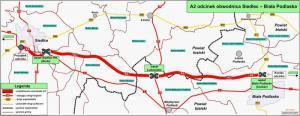 Autostrada A2 Siedlce - Biała Podlaska - mapa przebiegu