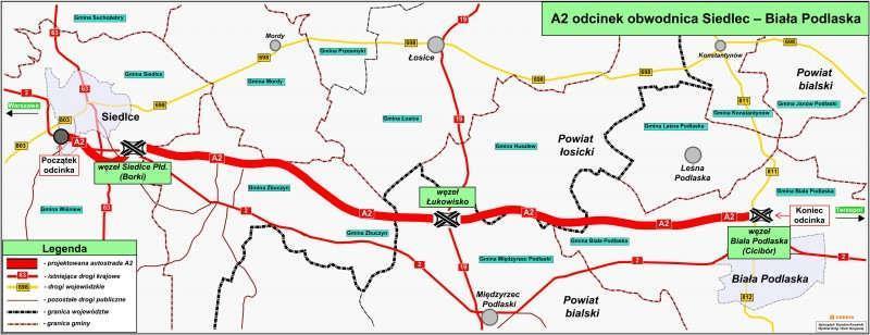 Mapa przebiegu autostrady A2 Siedlce - Biała Podlaska