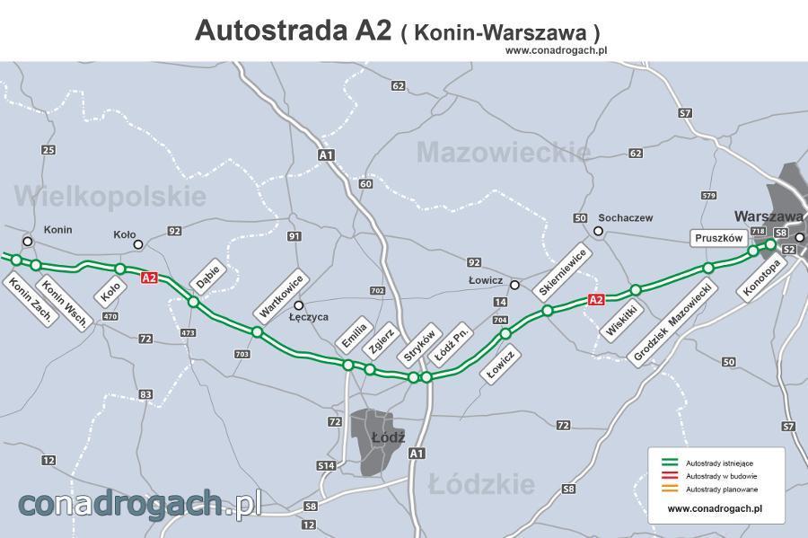 Mapa autostrady A2 Konin - Łódź - Warszawa