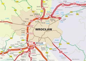 Autostradowa Obwodnica Wrocławia - mapa przebiegu autostrady A8