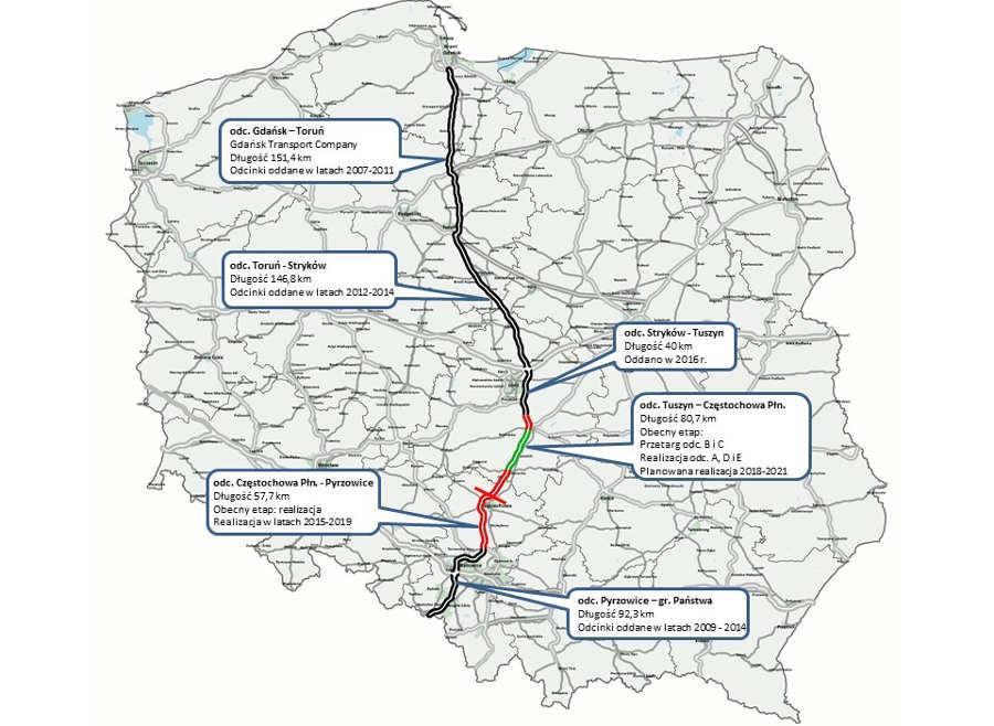 Mapa autostrady A1 Gdańsk - Gorzyczki w lokalizacją odcinków w budowie