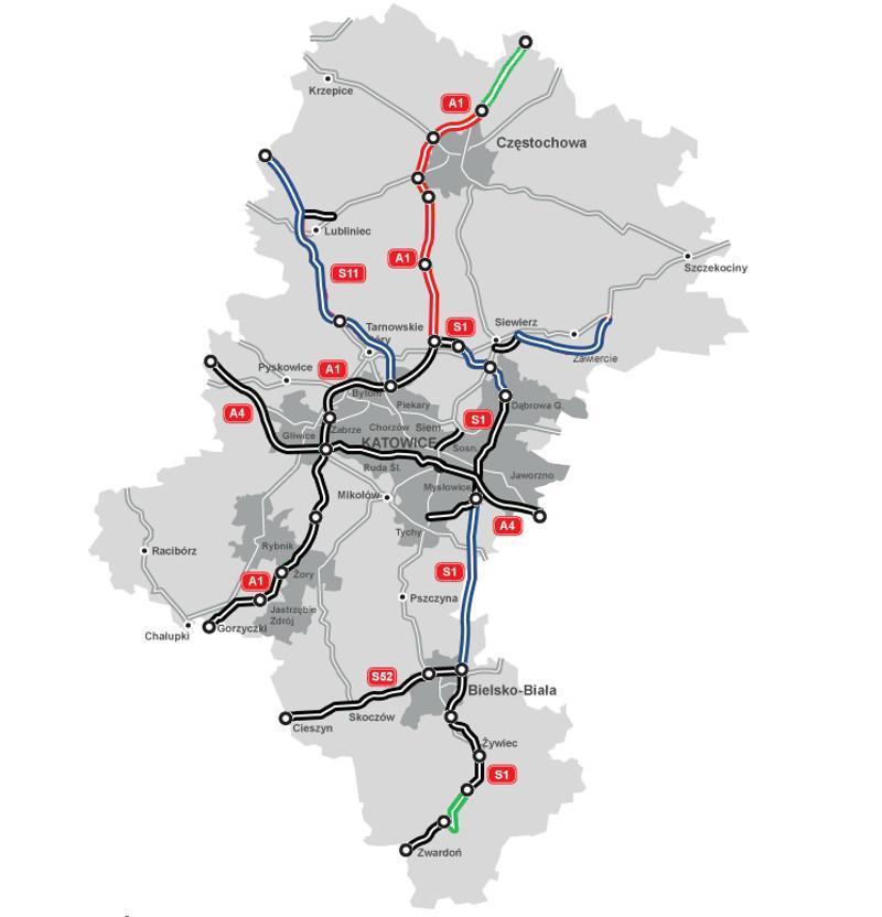 Mapa autostrady A1 w woj. śląskim. W budowie Częstochowa - Pyrzowice i w projekcie Częstochowa - granica woj.