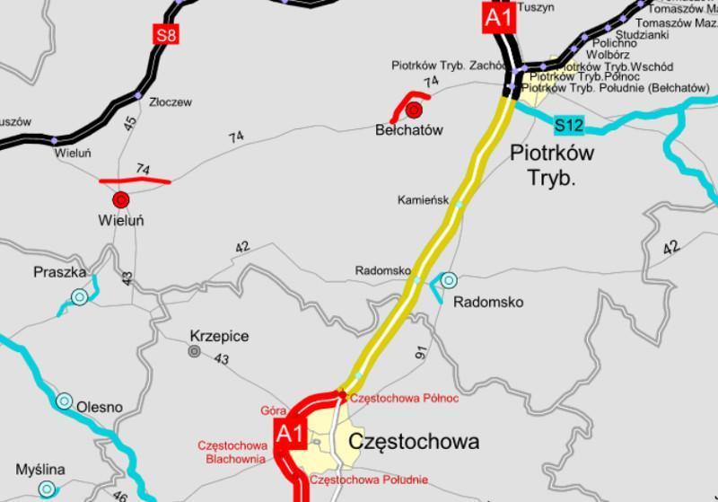 Mapa autostrady A1 Tuszyn - Częstochowa