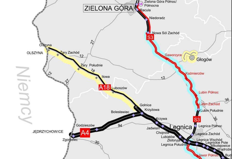 Odcinek autostrady A18 Olszyna - Golnice (nitka południowa) do przebudowy