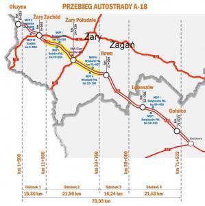 Mapa autostrady A18 Olszyna - Golnice w podziale na odcinki realizacyjne - przebudowa jezdni południowej