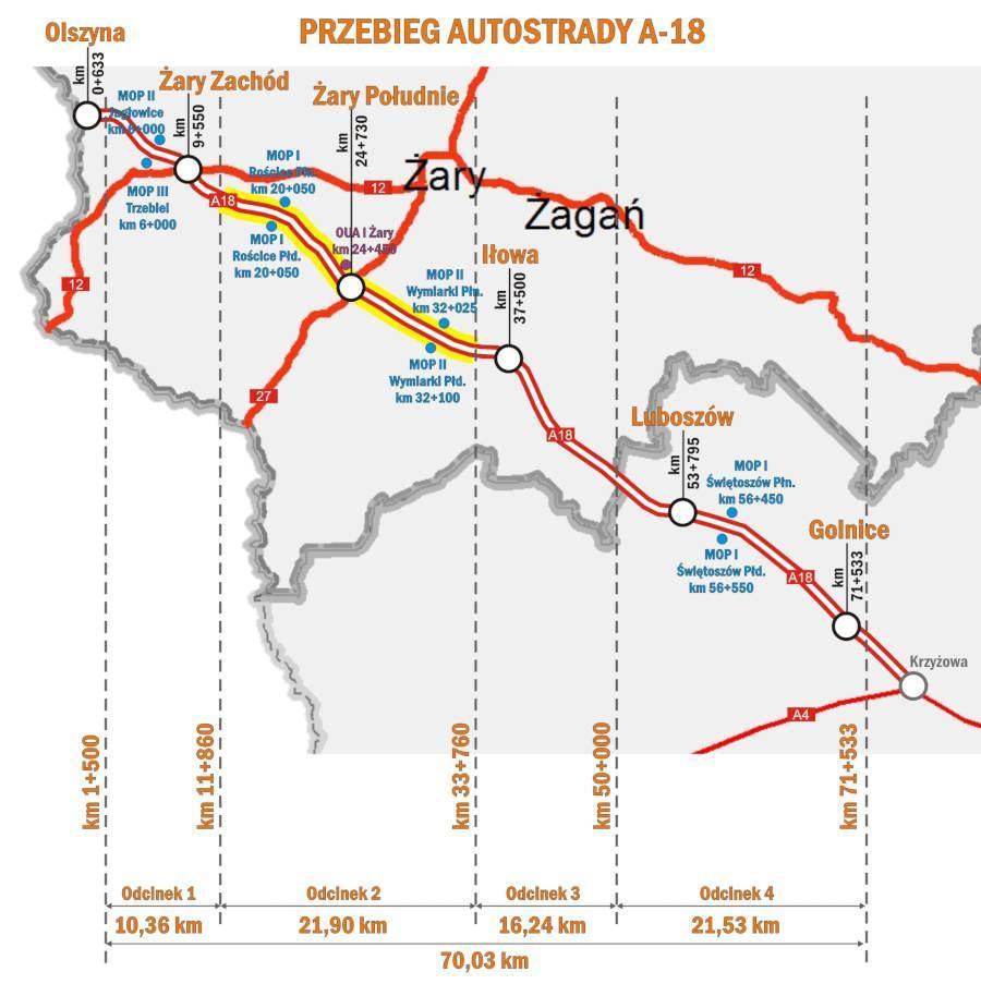 Mapa odcinków realizacyjnych autostrady A18 Krzyżowa - Olszyna