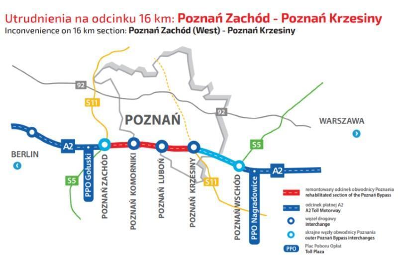 Mapa z odcinkiem autostrady A2 obwodnicy Poznania objętym rozbudową