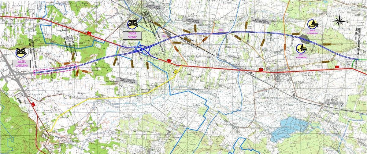 Mapa autostrady A2 Warszawa - Mińsk Mazowiecki