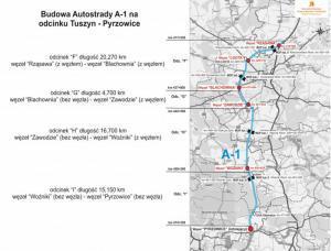 Mapa autostrady A1 Pyrzowice - Rząsawa z podziałem na budowane odcinki