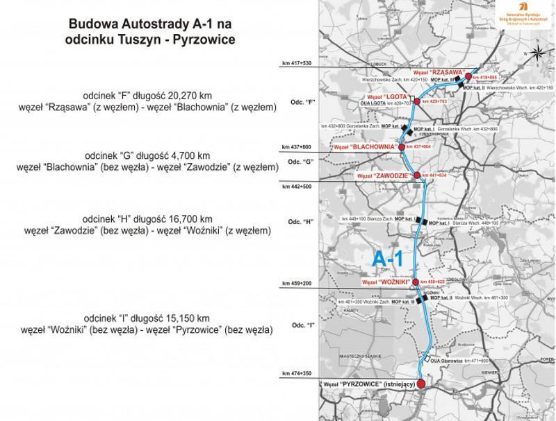 Mapa budowanych odcików autostrady A1 z Rząsawy do Pyrzowic