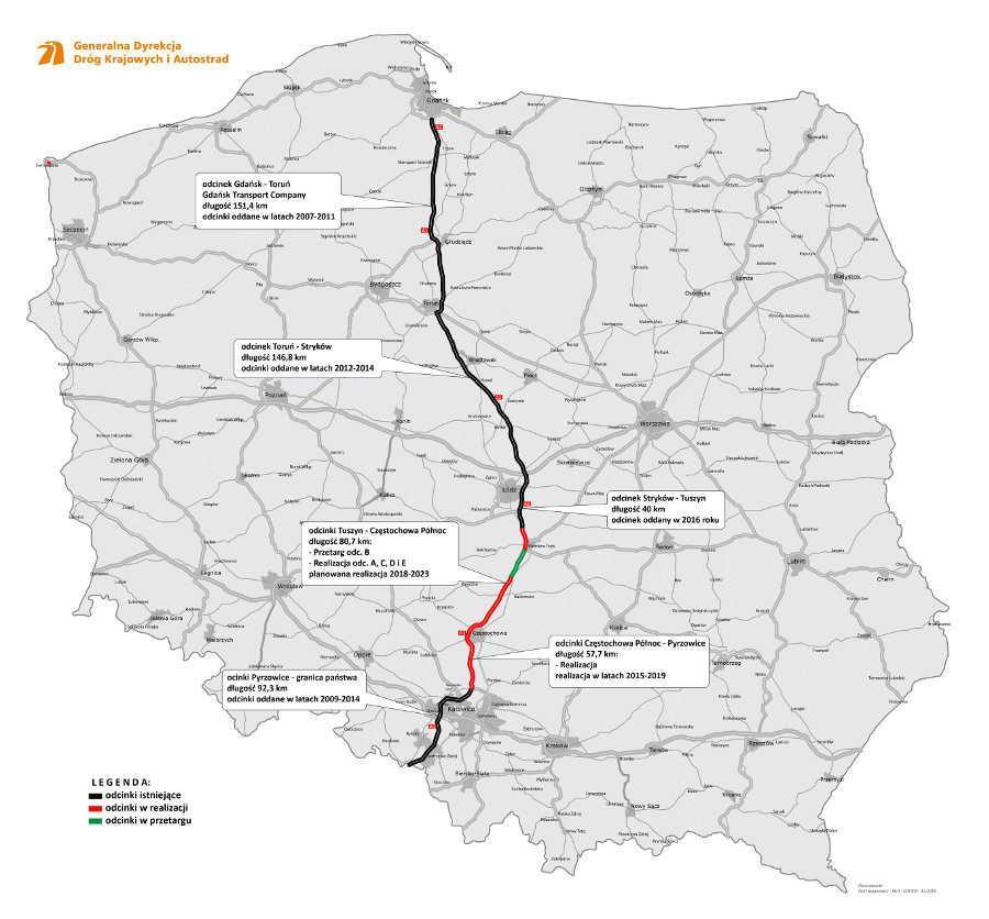 Autostrada A1 Łódź - Częstochowa w podziale na odcinki realizacyjne. Mapa: GDDKIA