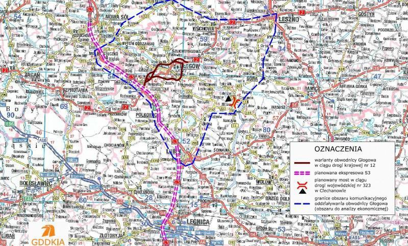 Mapa przebiegu wariantów obwodnicy Głogowa w ciągu DK12