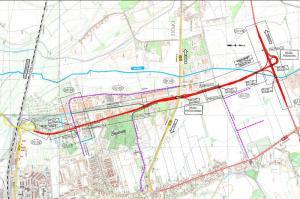 Mapa obwodnicy południowej Opola - obwodnica Piastowska II etap
