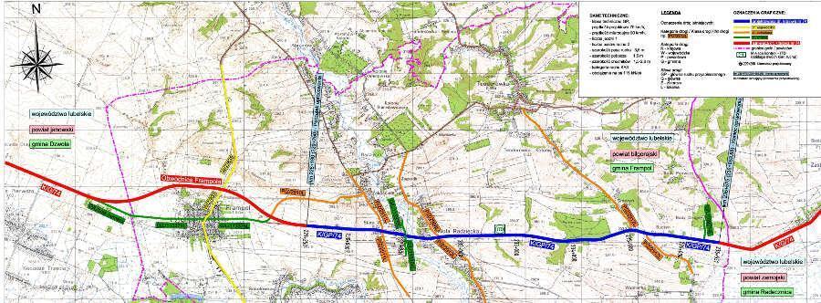 Przebudowa DK74 Frampol - Gorajec - mapa odcinka