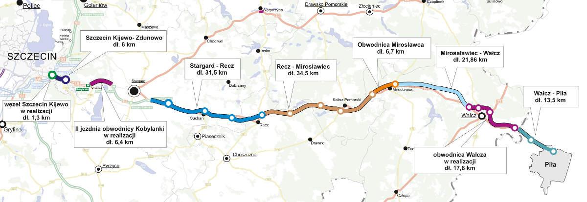 Przygotowanie i realizacja drogi ekspresowej S10. Mapa S10 Szczecin - Piła