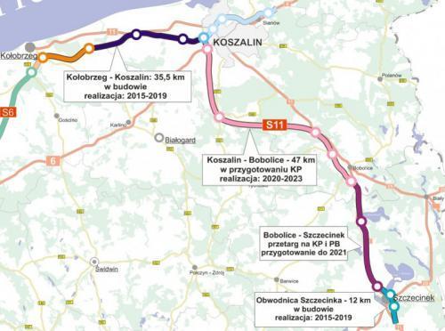 Mapa drogi ekspresowej S11 w woj. zachodniopomorskim - odcinki i czas realizacji