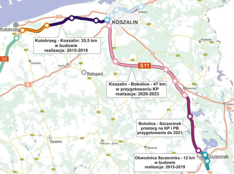 Mapa drogi ekspresowej S11 w woj. zachodniopomorskim - odcinki skierowane do realizacji