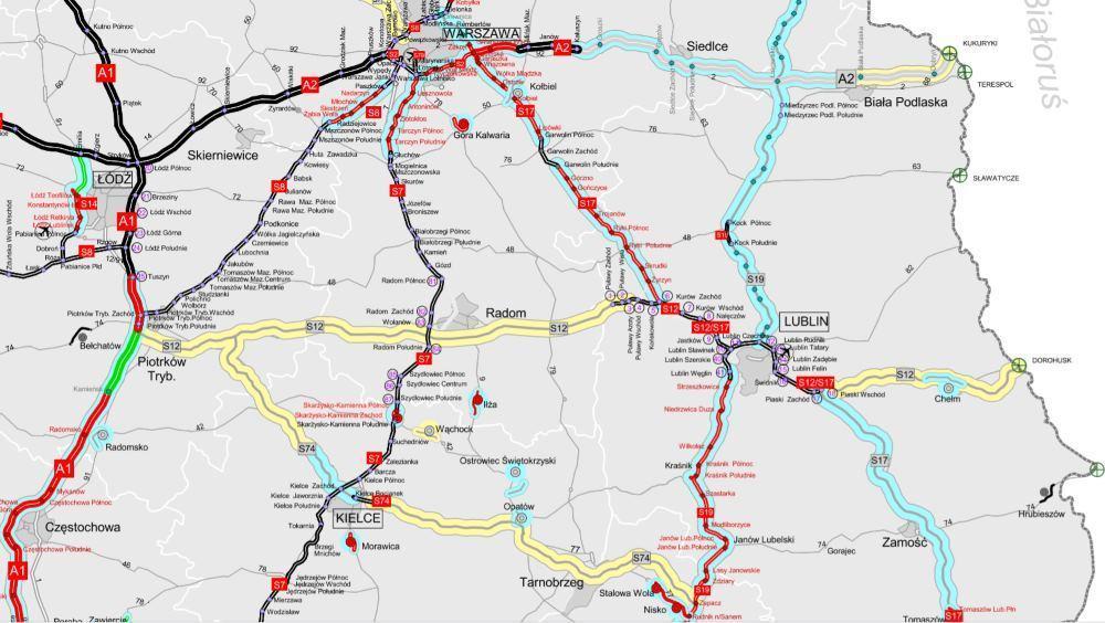 Mapa przebiegu drogi ekspresowej S12 Piotrków Tryb. - Radom - Lublin - Dorohusk