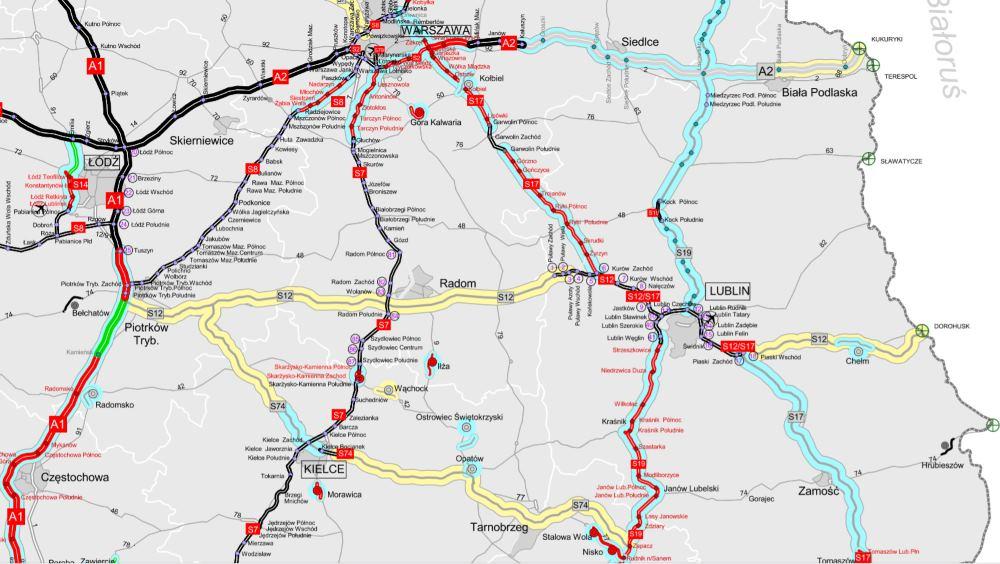 Mapa drogi ekspresowej S12 Piotrków Tryb. - Radom - Lublin - Dorohusk