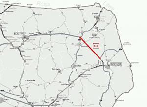 Droga ekspresowa S16 Ełk - Knyszyn - mapa z korytarzem przebiegu