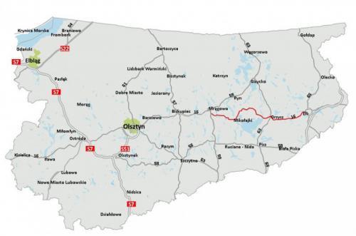 Mapa Przebiegu Drogi Ekspresowej S16 Mragowo Orzysz Elk Mapy