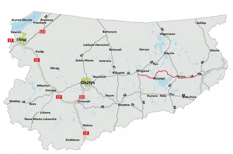 Mapa przebiegu drogi ekspresowej S16 Mrągowo - Orzysz - Ełk