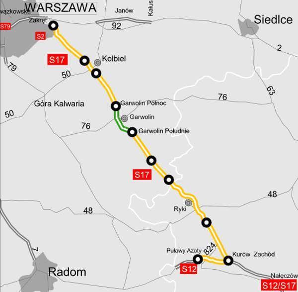 Mapa drogi ekspresowej S17 Kurów - Warszawa w podziale na odcinki realizacyjne