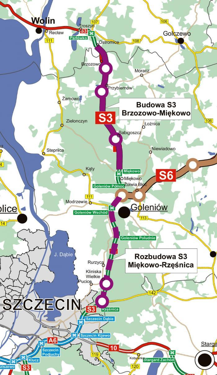 Mapa odcinków drogi ekspresowej S3 na trasie Szczecin - Świnoujście