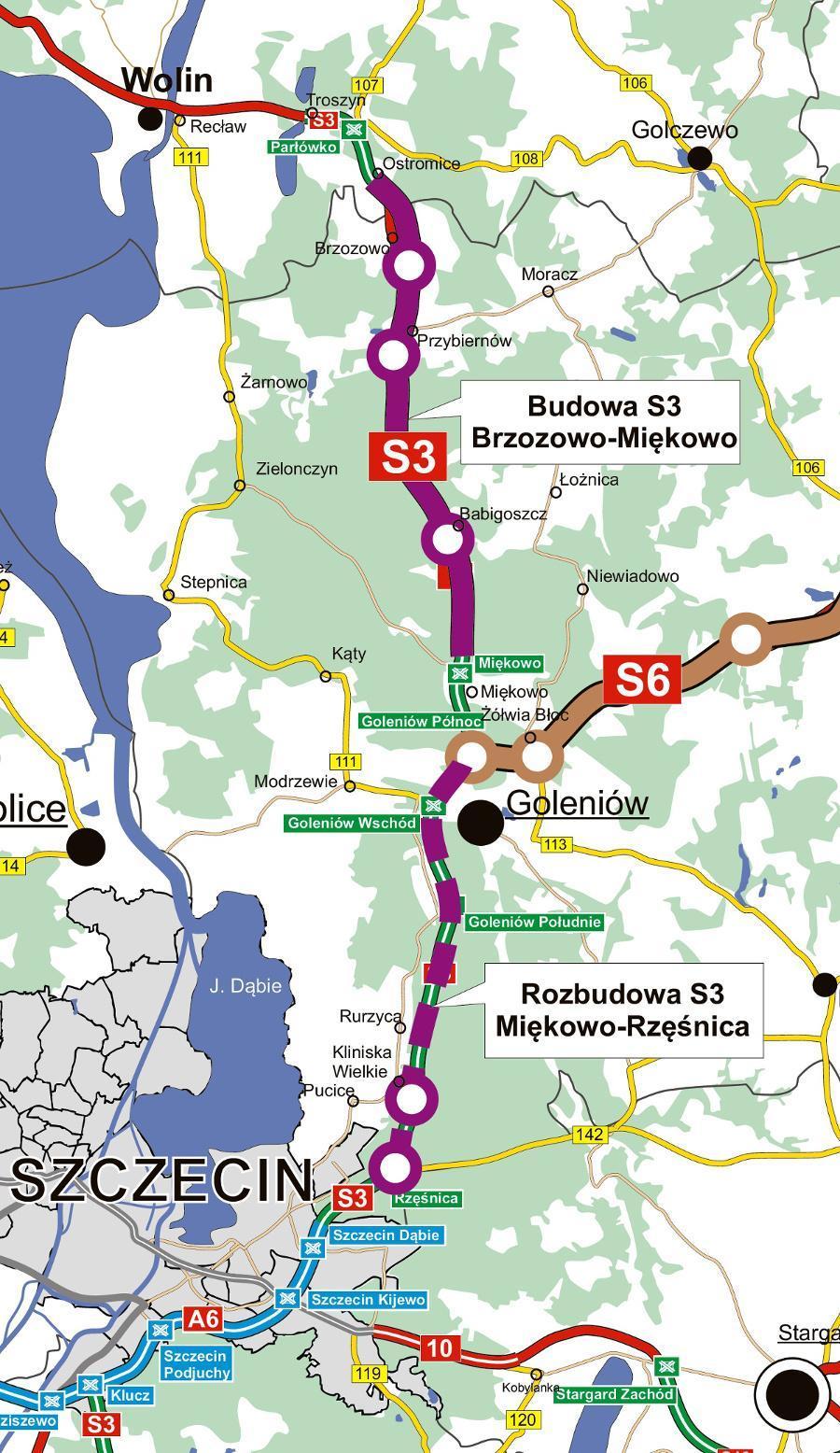 Mapa przebiegu odcinków drogi ekspresowej S3 Brzozowo - Miękowo - Rzęśnica