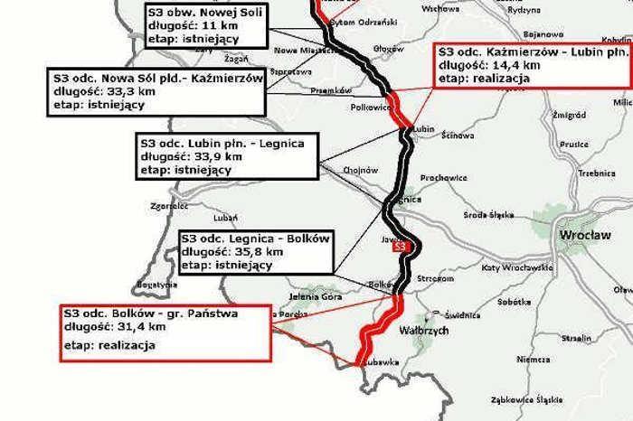 Mapa drogi ekspresowej S3 na Dolnym Śląsku
