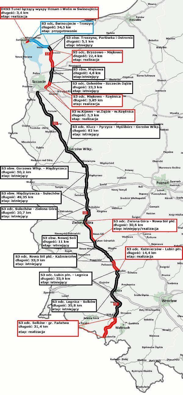 Budowa drogi ekspresowej S3 - mapa z podziałem na odcinki realizacyjne