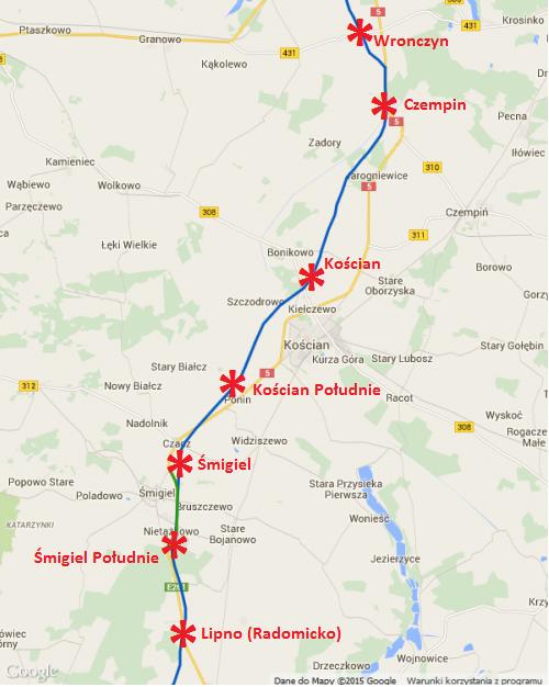 Mapa drogi ekspresowej S5 Radomicko - Kościan - Wronczyn