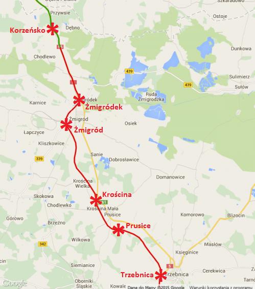 Mapa przebiegu drogi eskpresowej S5 Trzebnica - Korzeńsko