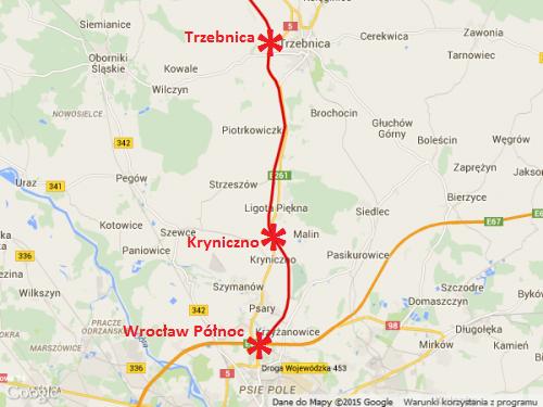 Mapa przebiegu drogi ekspresowej S5 Wrocław - Trzebnica