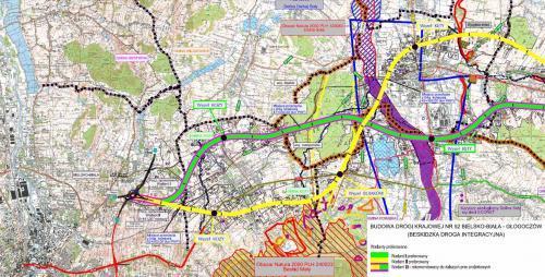 Mapy przebiegu drogi ekspresowej S52 Bielsko-Biała - Głogoczów (S7)