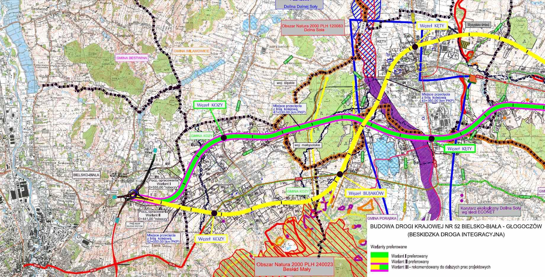 Droga ekspresowa S52 - mapa odc. Bielsko-Biała - Kęty